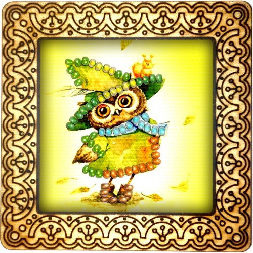 Magnet bead embroidery kit «M-0119 Owl in the Hat»