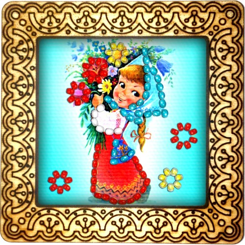 Magnet bead embroidery kit «M-0129 The Red Skirt»