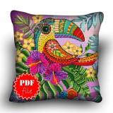 Pillow Cross stitch pattern «pdf-H-0002 Terrific Toucan»