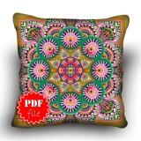 Pillow Cross stitch pattern «pdf-H-0012 Mandala Rose»