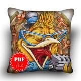 Pillow Cross stitch pattern «pdf-H-0022 Yelling Bird»