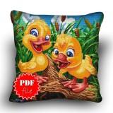 Pillow Cross stitch pattern «pdf-H-0032 Chatty Chicks»